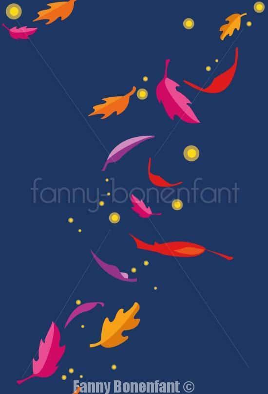 lucioles d'automne par Fanny Bonenfant illustrations designer textile avec filigrane