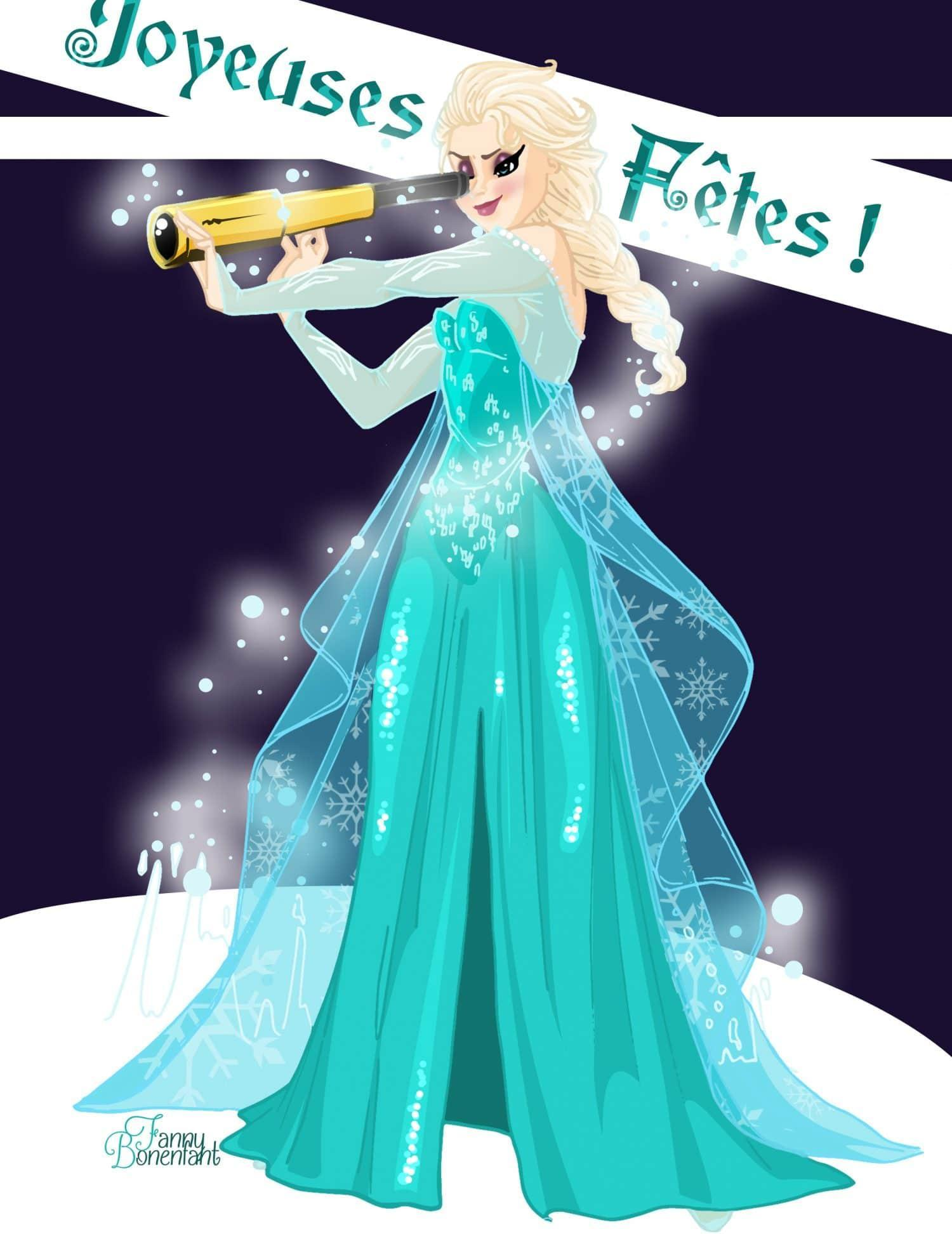 carte de voeux 2013 Elsa Reine des Neiges Disney Fanny Bonenfant illustrations