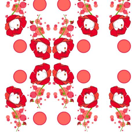 motif La ronde des coquelicots par Fanny Bonenfant illustrations design textile