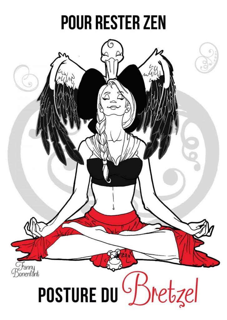 En Alsace, pour rester zen = posture du bretzel par Fanny Bonenfant illustratrice