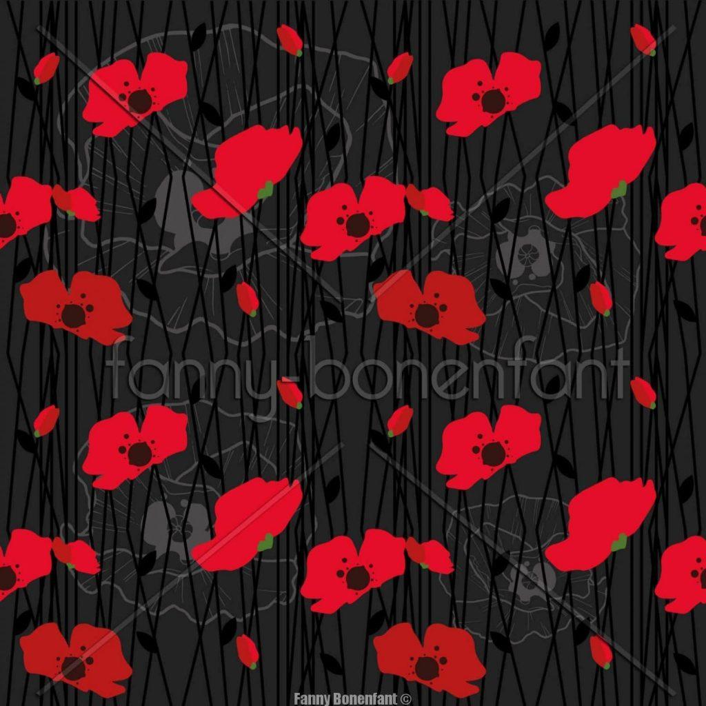 poppies into my bag design textile Fanny Bonenfant illustration