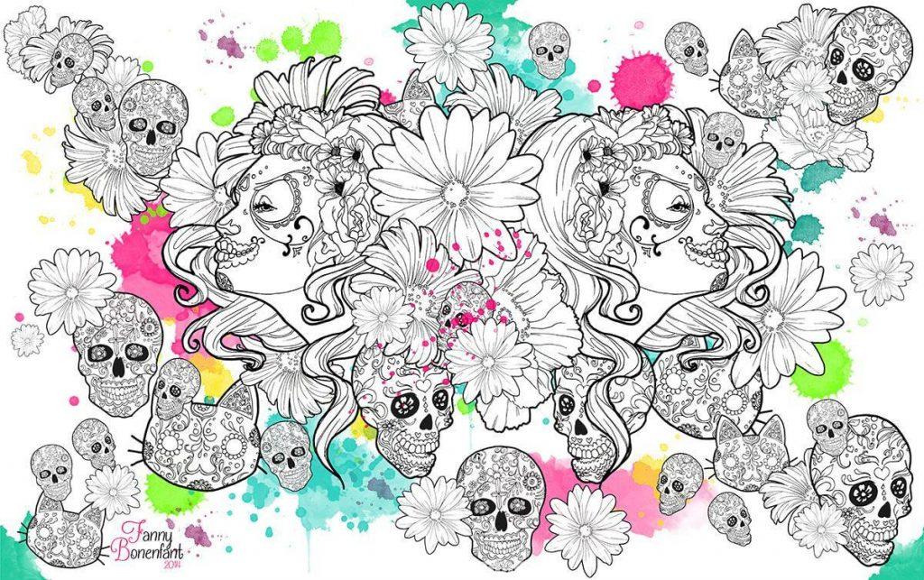 Calaveras façon Fanny bonenfant illustration et design textile Alsace
