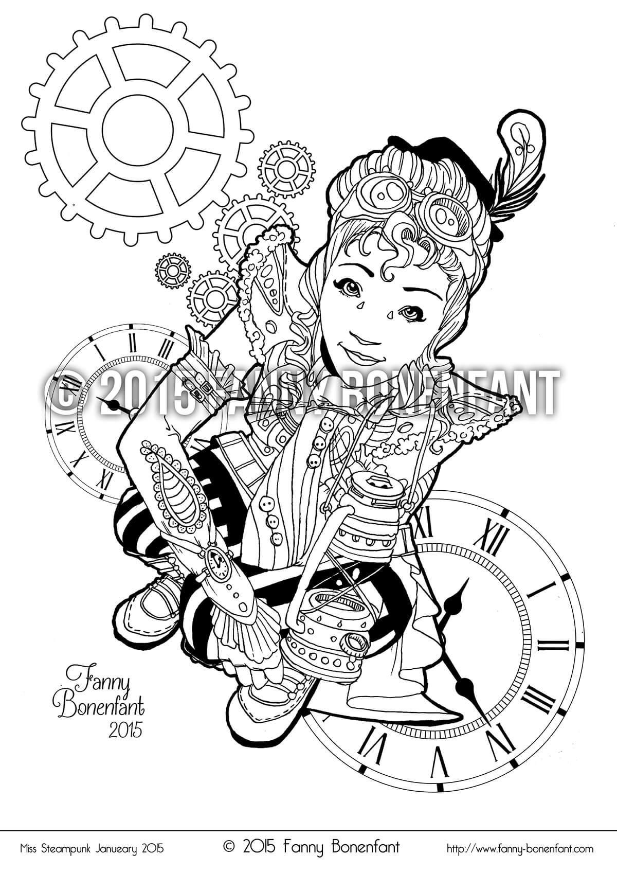 steampunk pin up january 2015 coloriage dtente et fun - Coloriage Dtente