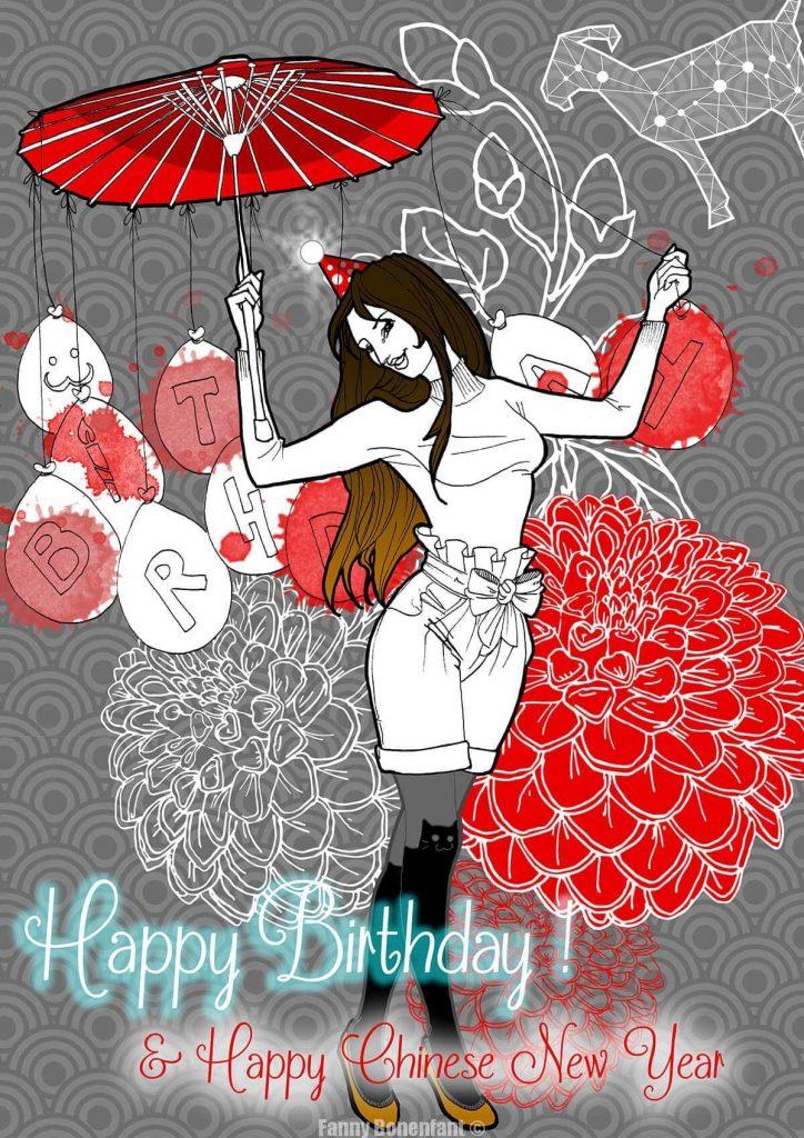 Happy Birthday Fanny Bonenfant illustration Alsace