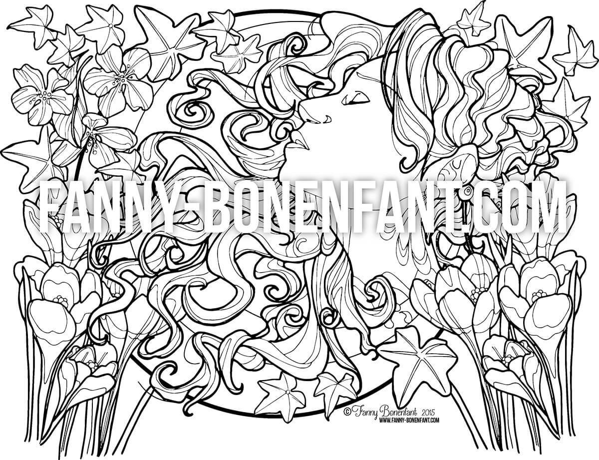 coloriages art nouveau - Lady Anaïs- illustration Fanny Bonenfant 2015