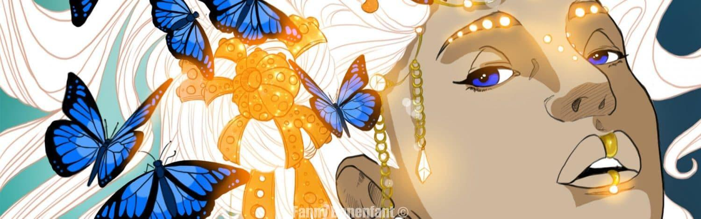Portrait Amazone aux papillons bleus par Fanny Bonenfant illustrations