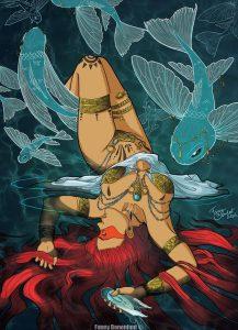 Téthys ou amazone aux poissons volant Fanny Bonenfant illustration