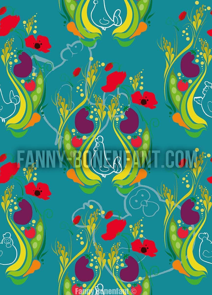 Oh yeah chicken motif textile Fanny Bonenfant illustrations