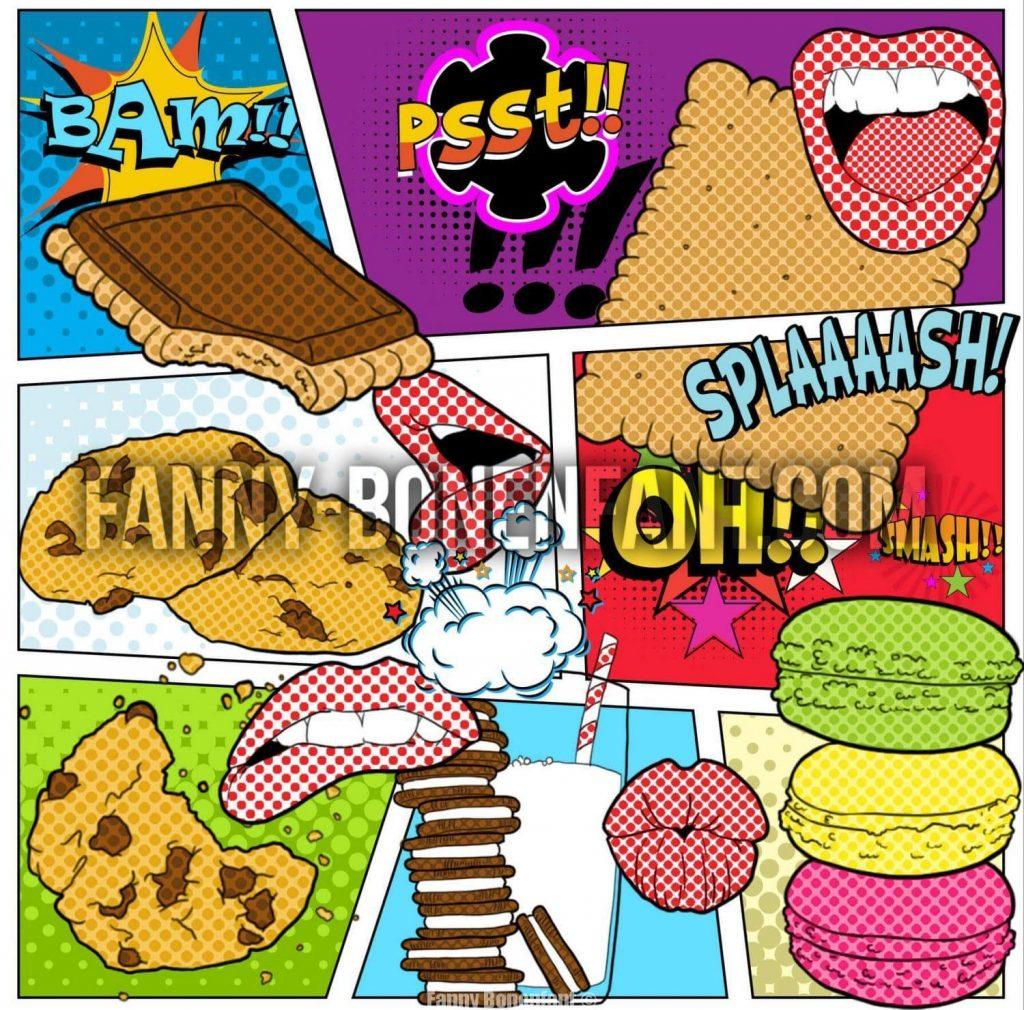 Comic Pop art Cookies design textile illustrations Fanny Bonenfant