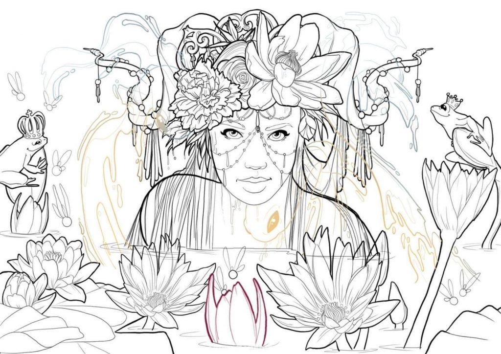 Fairy Lotus illustration magique et mystérieuse Fanny Bonenfant encrage