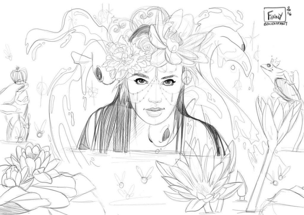 Fairy Lotus illustration magique et mystérieuse Fanny Bonenfant sketch