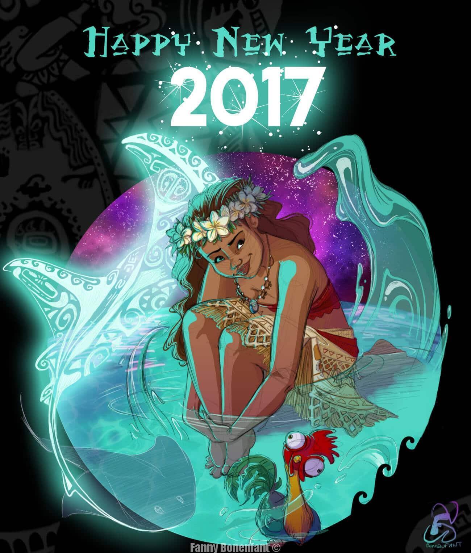 Une bonne année 2017 illustrée avec Moana (Vaiana) !