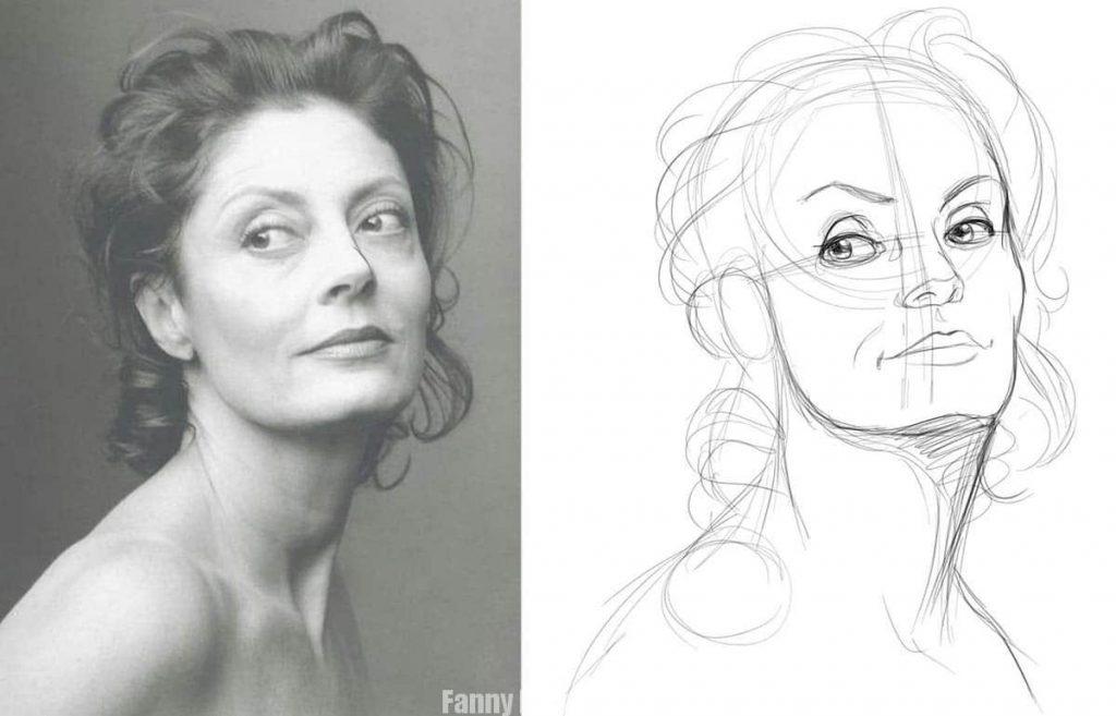Croquis du portrait à faire à main levée - Fanny Bonenfant illustrations