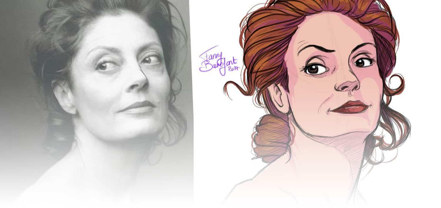 Dessiner un portrait main levée depuis une photo - susan sarandon - Fanny Bonenfant illustrations