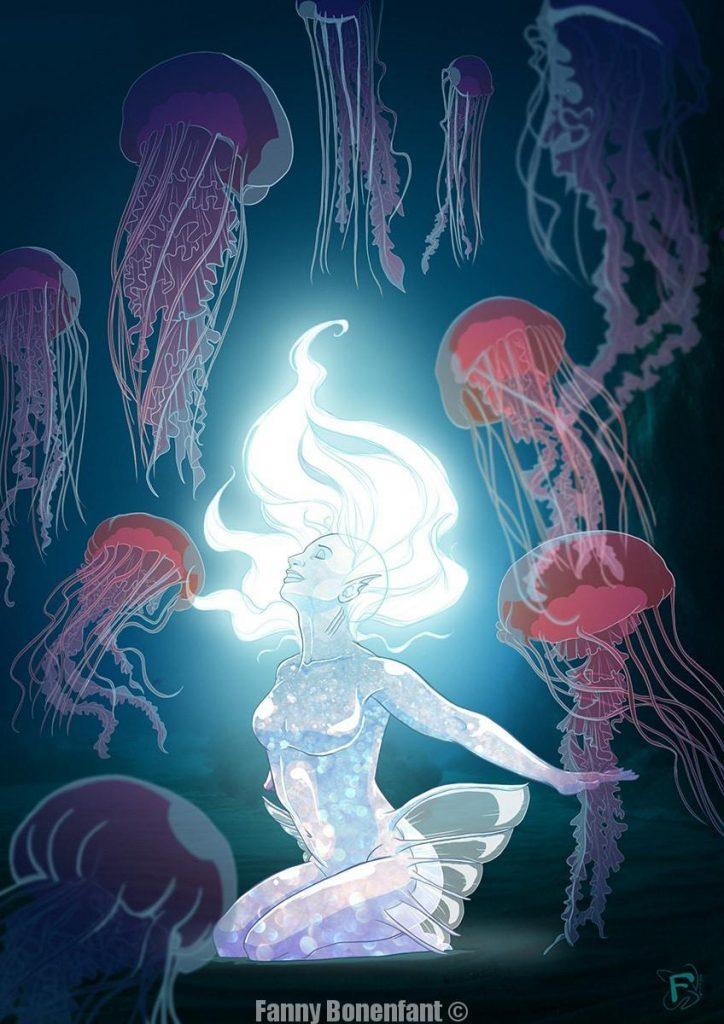 Underwater jellyfish - Oeuvre réalisée par Fanny Bonenfant