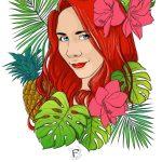 Portrait emeline coloration et aplats de couleurs