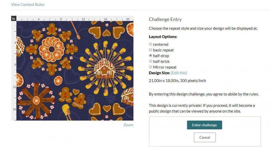 Visuel participation au concours de motif de tissu Spoonflower