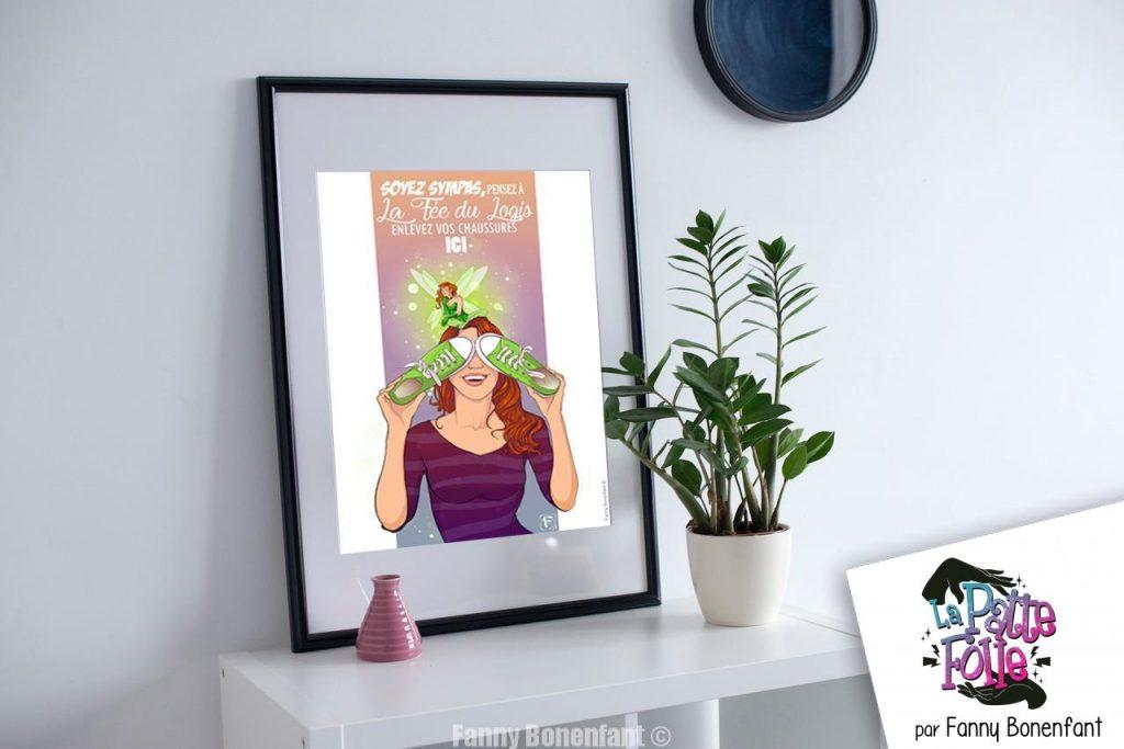 """Scène Poster A3 """"Pensez à la fée du logis!"""" illustré par Fanny Bonenfant"""