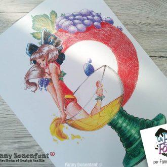 Poster Pin-up d'Alsace dans un verre à vin – A3