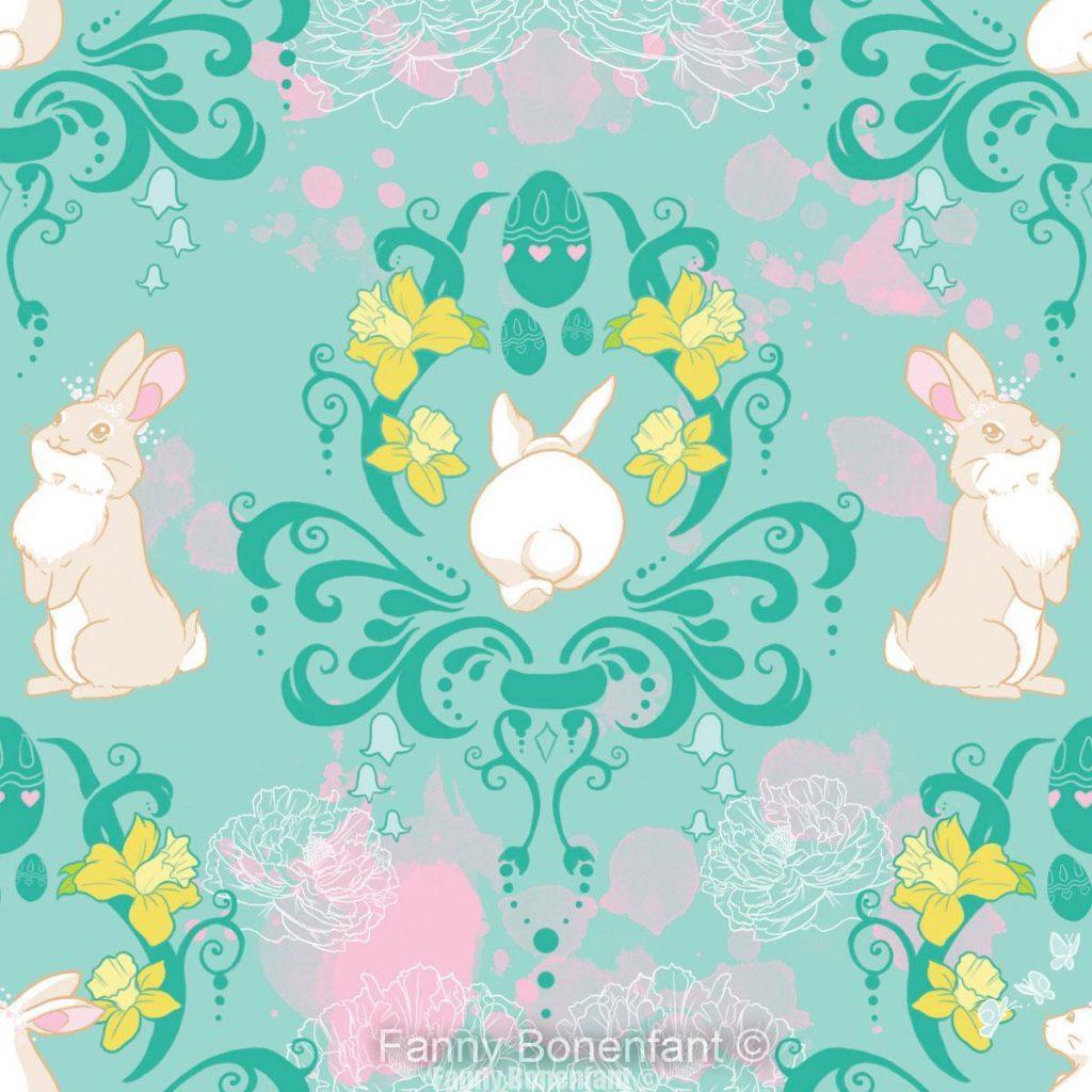 Little Bunny Bloom Design textile par Fanny Bonenfant