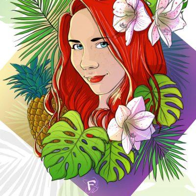 Version finale du portrait exotique de Emeline Colombin