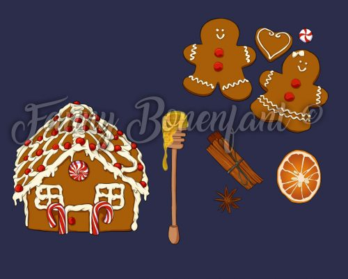 éléments dessinés pour le motif gingerbread